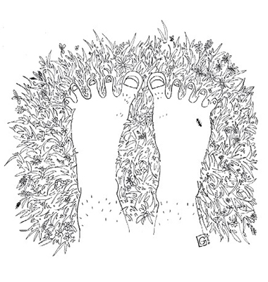 Illustration: feet on lawn